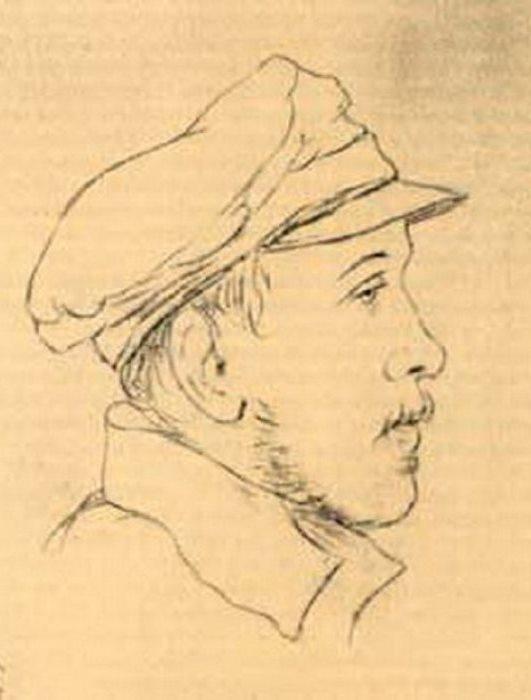 Д. Пален. Портрет М. Ю. Лермонтова  в военной фуражке, 1840