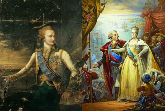 Князь Г. Потемкин и Екатерина II. Работы неизвестных художников | Фото: liveinternet.ru