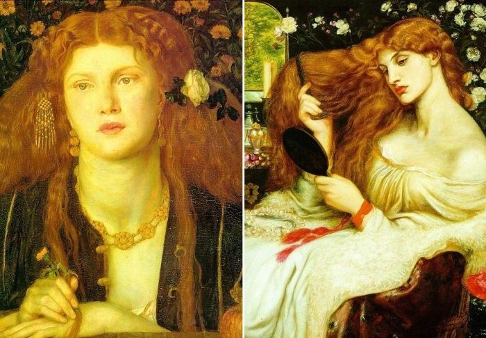 Данте Габриэль Россетти. Слева – Bocca Baciata, 1859. Справа – Леди Лилит, 1868. Натурщица – Фанни Корнфорт