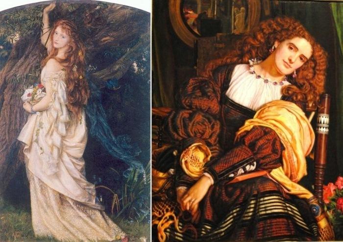 Слева – Артур Хьюз. Офелия, 1863. Справа – Уильям Холман Хант. Далекая нежность, 1866