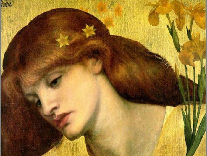 Данте Габриэль Россетти. Sancta Lilias, 1874. Фрагмент