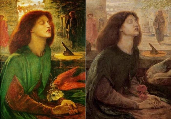 Данте Габриэль Россетти. Слева – Блаженная Беатриче, 1864-1870. Справа –  Блаженная Беатриче (второй вариант картины), 1882. Посмертный портрет Элизабет Сиддал