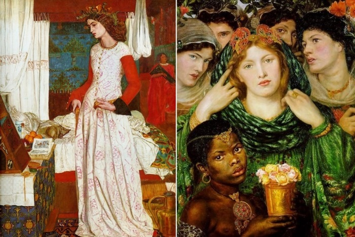 Слева – Уильям Моррис. Прекрасная Изольда (Королева Джиневра), 1858. Натурщица – Джейн Берден. Справа – Данте Габриэль Россетти. Возлюбленная (Невеста), 1865-1866