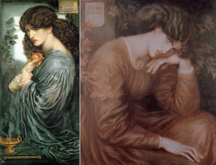 Данте Габриэль Россетти. Слева – Прозерпина, 1874. Натурщица – Джейн Берден. Справа – Портрет Джейн Берден