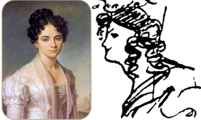 Портрет Марии Николаевны Волконской (Раевской) работы неизвестного художника и рисунок А. С. Пушкина