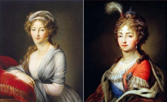Виже-Лебрен, портрет императрицы Елизаветы Алексеевны и портрет работы неизвестного художника по оригиналу Виже-Лебрен