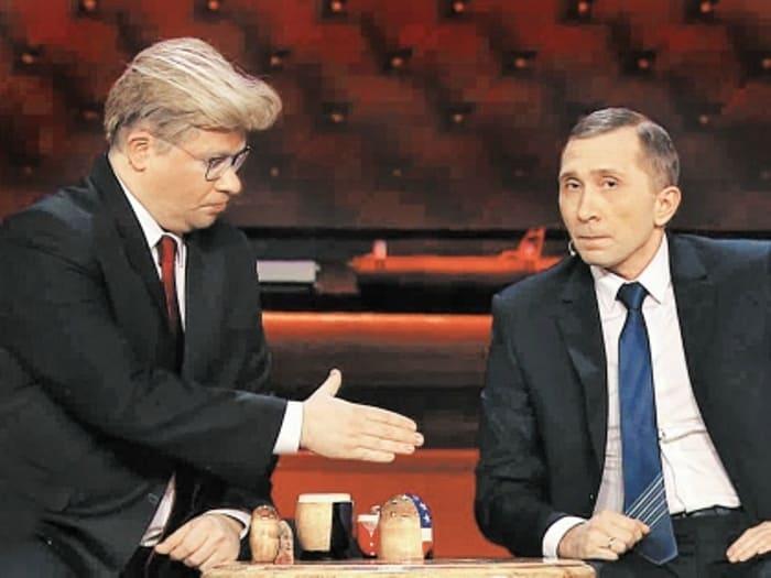 Гарик Харламов в роли Трампа и Дмитрий Грачев в роли Путина | Фото: sobesednik.ru