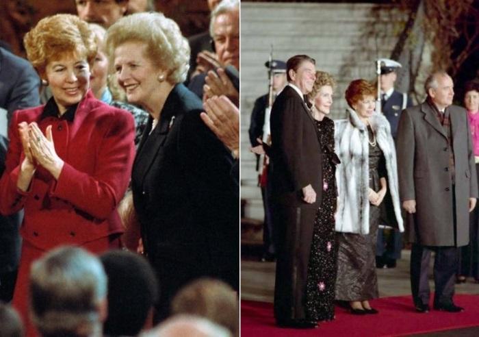 Слева – Раиса Горбачева и Маргарет Тэтчер, 1989. Справа – Чета Горбачевых во время визита в США, 1987 | Фото: materiality.info