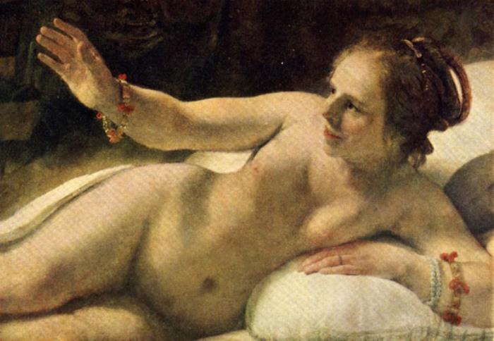 Рембрандт. Даная, 1636-1647. Фрагмент