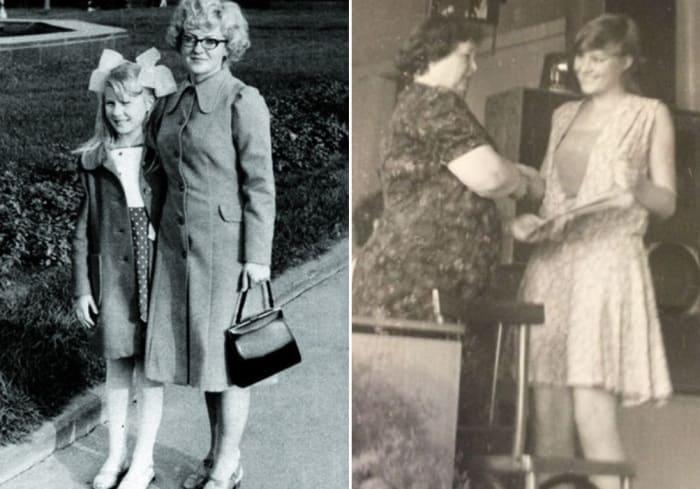 Рената Литвинова с матерью и на вручении аттестата об окончании школы | Фото: starhit.ru