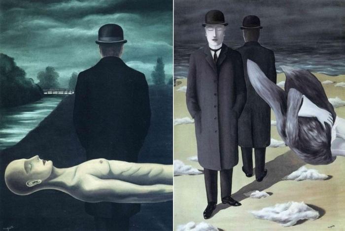 Рене Магритт. Слева – Размышления одинокого прохожего, 1926. Справа – Смысл ночи, 1927. Фото: Интернет