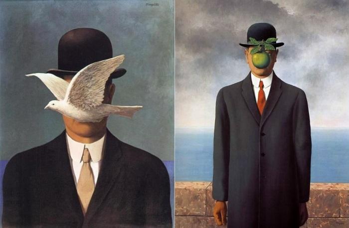 Рене Магритт. Слева – Человек в котелке, 1964. Справа – Сын человеческий, 1964. Фото: Интернет