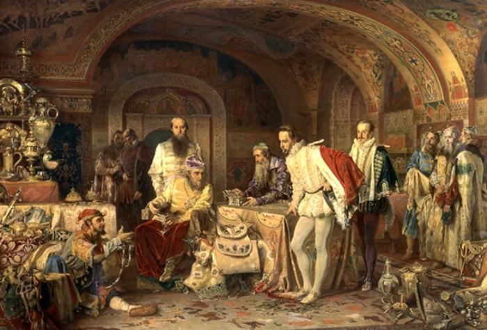 А. Литовченко. Иван Грозный показывает сокровища английскому послу Горсею, 1875