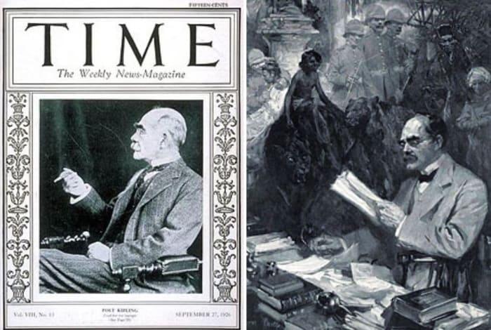 Слева – Редьярд Киплинг в возрасте 60 лет на обложке журнала «Time», 1926. Справа – писатель и его герои | Фото: 2queens.ru и manwb.ru
