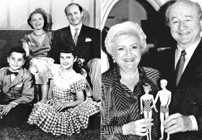 Супруги Хэндлер и их дети Барби и Кен, в честь которых назвали куклы | Фото: static.gazeta.ua и dollplanet.ru