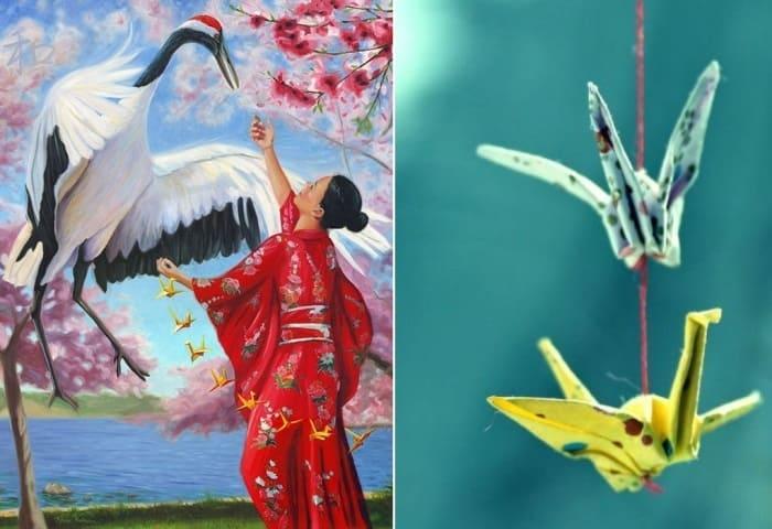Бумажный журавль стал символом мира и темой многих произведений искусства | Фото: thegreatpeacemakers.com и wattpad.com