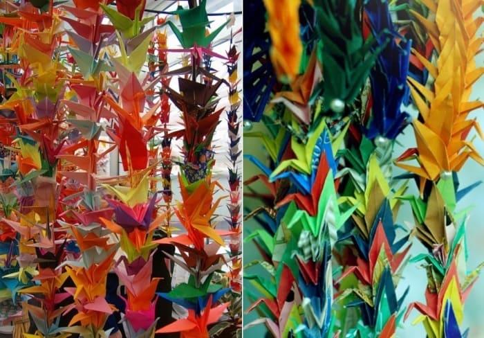 В память о девочке из Японии дети по всему миру делали бумажных журавлей | Фото: origami-do.ru и news-live.ru