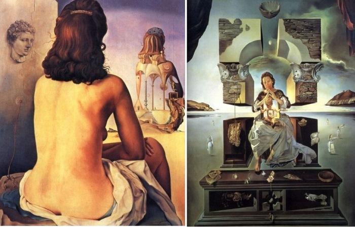 Сальвадор Дали. Слева - *Моя жена, обнаженная, смотрит на собственное тело*. Справа - *Мадонна Порт-Льигата*