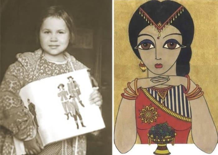 Юная художница-вундеркинд Саша Путря и ее работа *Индианка*, 1988 | Фото: abc-people.com и rus.jauns.lv
