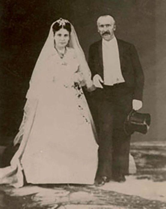 София и Генрих Шлиман, свадьба в Афинах, 1869 | Фото: aif.ru