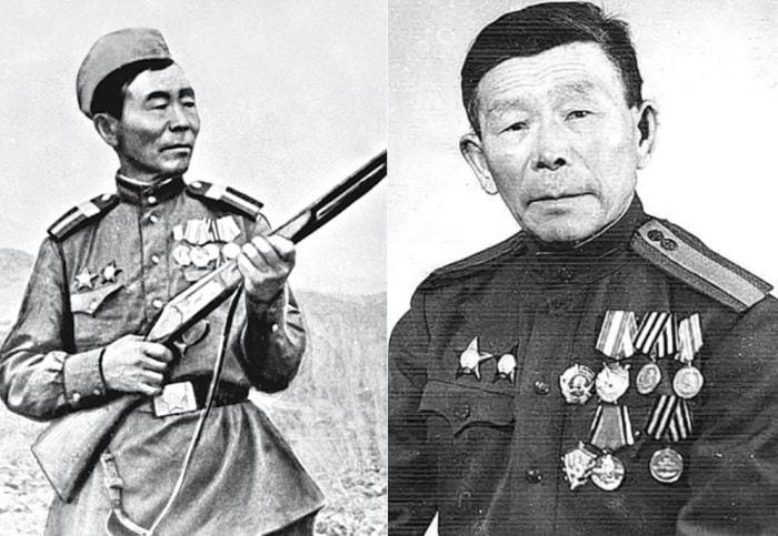 Почетный солдат Забайкальского военного округа С. Д. Номоконов | Фото: liveinternet.ru и osimira.com