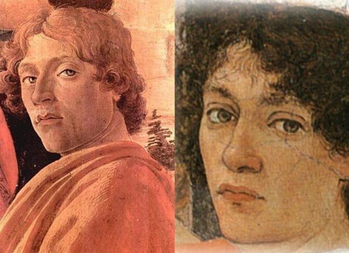 Слева – Сандро Боттичелли Автопортрет. Справа – Филиппино Липпи. Портрет С. Боттичелли