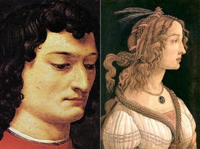 Слева – Аньоло Бронзино. Портрет Джулиано Медичи. Справа – Сандро Боттичелли. Портрет молодой девушки (Симонетта Веспуччи), 1475-80