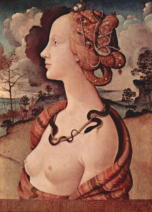 Считается, что на этой работе Пьеро ди Козимо в образе Клеопатры изображена Симонетта Веспуччи через десятилетия после своей смерти