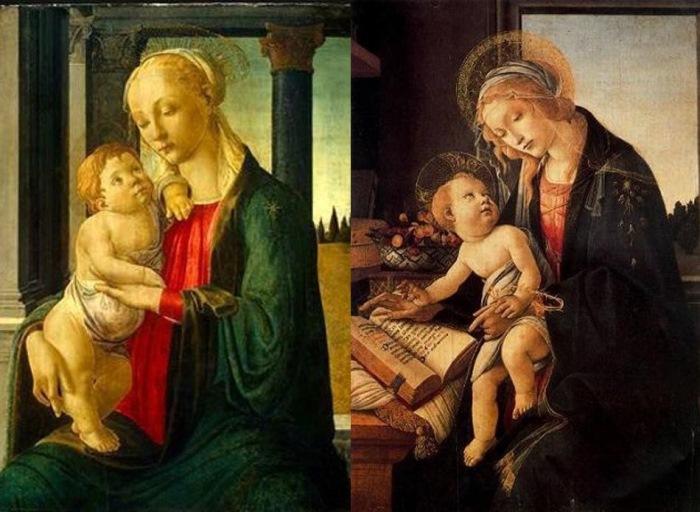 Сандро Боттичелли. Слева – Мадонна с младенцем, 1470. Справа – Мадонна с книгой, 1483