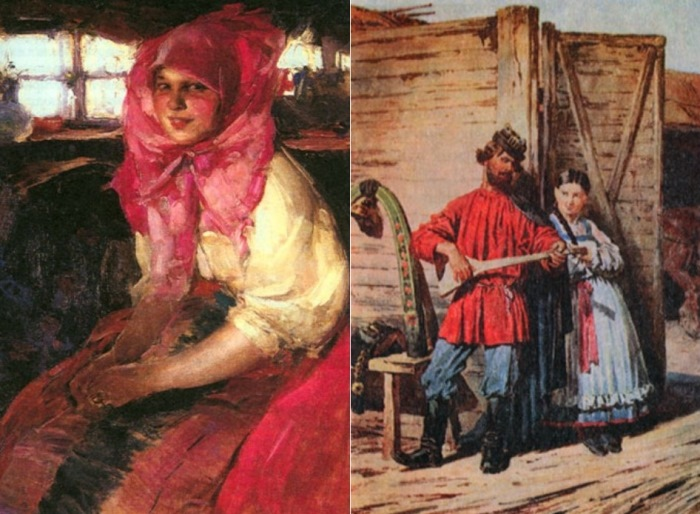 Слева – А. Архипов. Крестьянская девушка. Справа – П. Соколов. У ворот