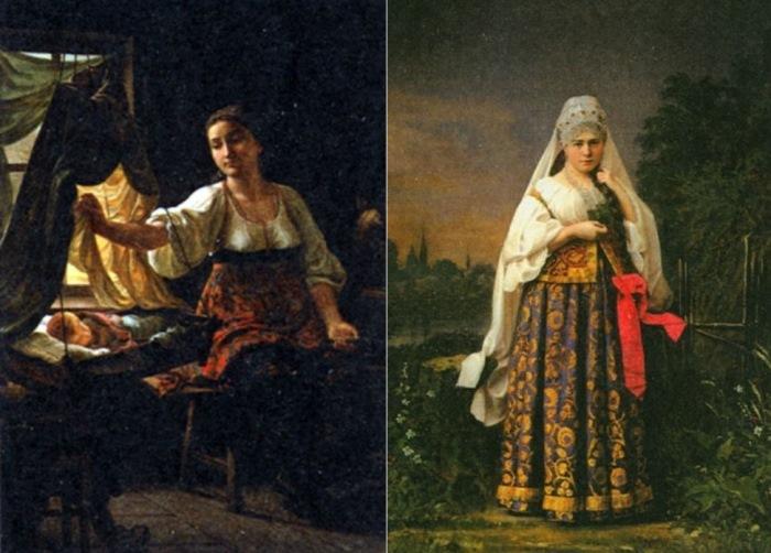 Слева – С. Грибков. Материнство. Справа – Крестьянка в праздничном наряде. Фото А. Карелина