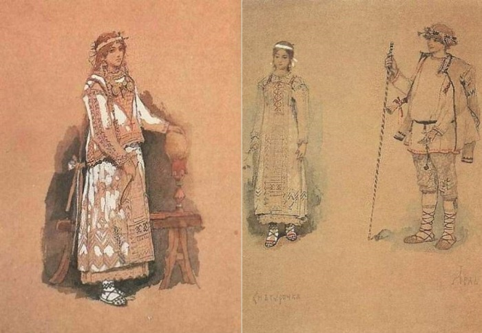 В. Васнецов. Эскизы костюмов к опере *Снегурочка*, 1885