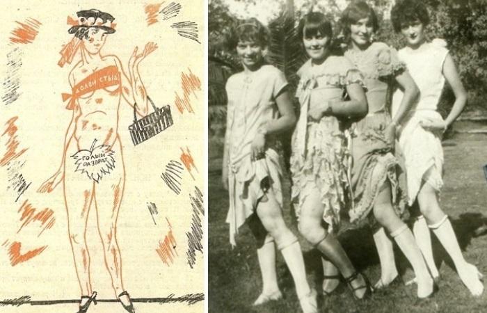 В 1920-х гг. советских граждан призывали вступить в общество *Долой стыд!* | Фото: historytime.ru  и arbatovagidepar.livejournal.com