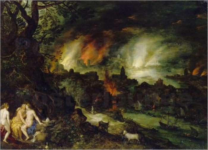 Ян Брейгель Старший. Лот с дочерьми на фоне Содома и Гоморры