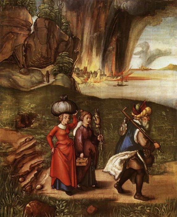 Альбрехт Дюрер. Бегство Лота с дочерьми из Содома, 1496