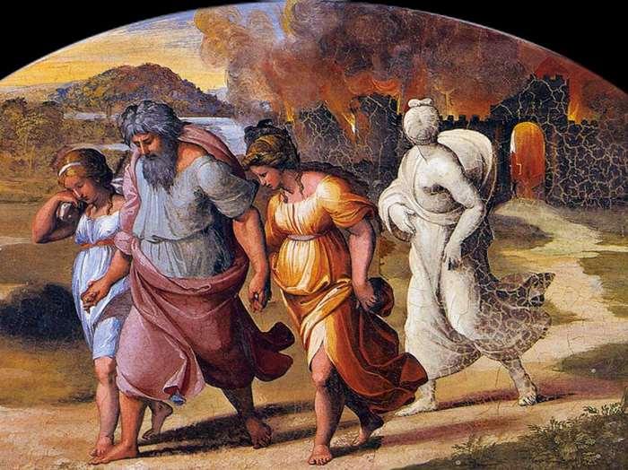 Лот и его семья бегут из Содома