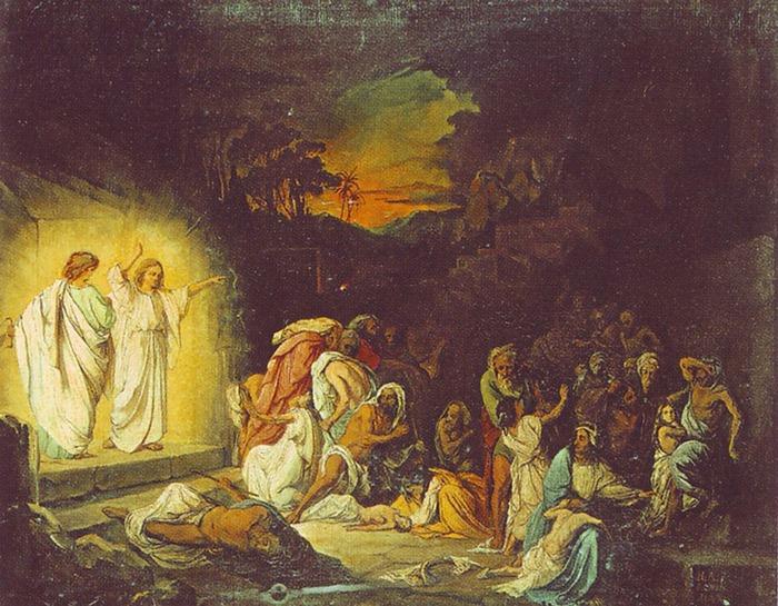 Н. Ломтев. Ангелы возвещают небесную кару Содому и Гоморре, 1845