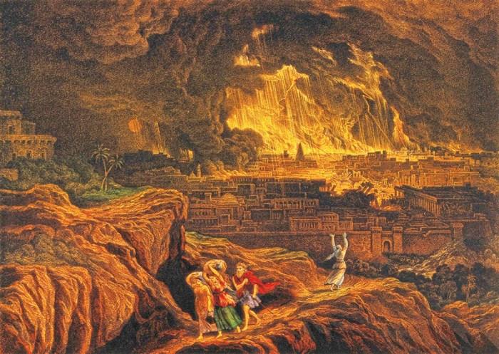 Джон Мартин. Лот и его семья бегут из горящей Содомы