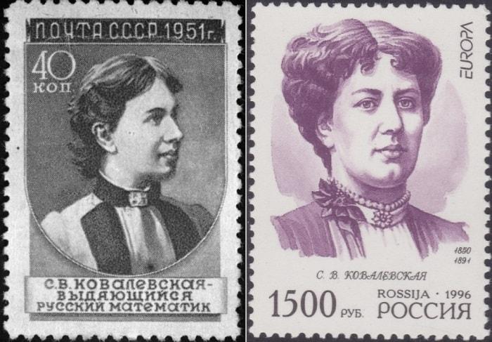 Марки с изображением Софьи Ковалевской | Фото: tvc.ru и stamppost.ru