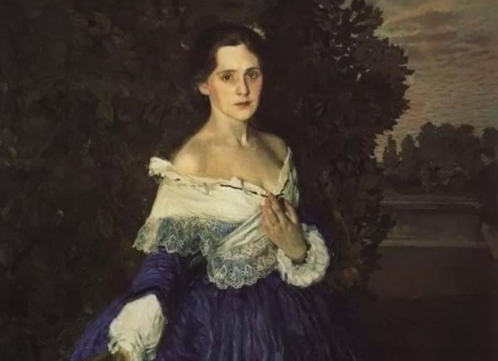 К. Сомов. Дама в голубом, 1897-1900. Фрагмент | Фото: gallerix.ru