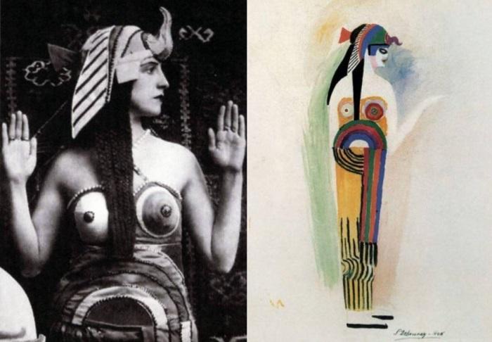 Слева – Соня Делоне в образе Клеопатры, 1918. Справа – ее эскиз костюма к балету *Клеопатра* | Фото: liveinternet.ru