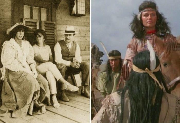 На съемках *Человека с бульвара Капуцинов*, 1987 приходилось переодеваться и женщиной (настоящие женщины не могли поднять на руки Миронова), и индейцем | Фото: kino-teatr.ru