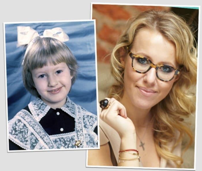Ксения Собчак в школьные годы и сейчас | Фото: blognews.am