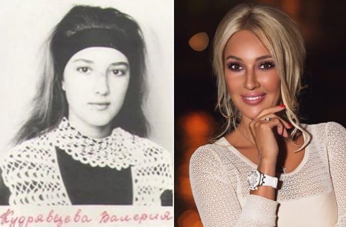 Лера Кудрявцева в школьные годы и сейчас | Фото: pinterest.de и likeness.ru