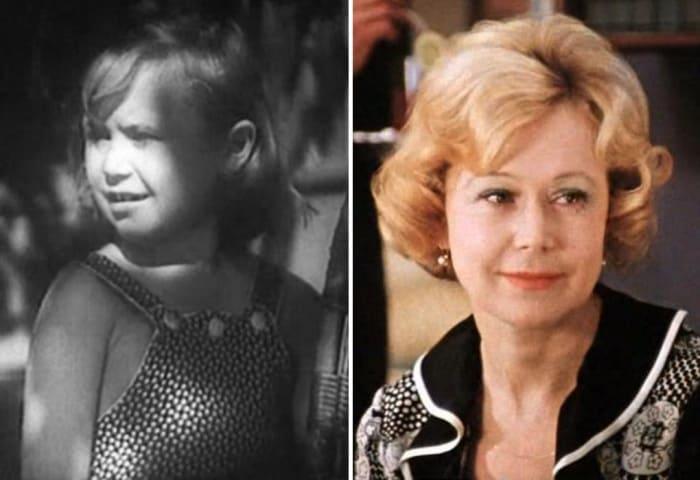 Светлана Немоляева в фильмах *Близнецы*, 1945, и *Служебный роман*, 1977 | Фото: kino-teatr.ru