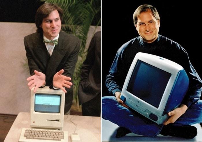 Слева – Стив Джобс демонстрирует новый персональный компьютер Macintosh, 1984.  Справа – Стив Джобс и компьютер iMac, 1998 | Фото: photolium.ru