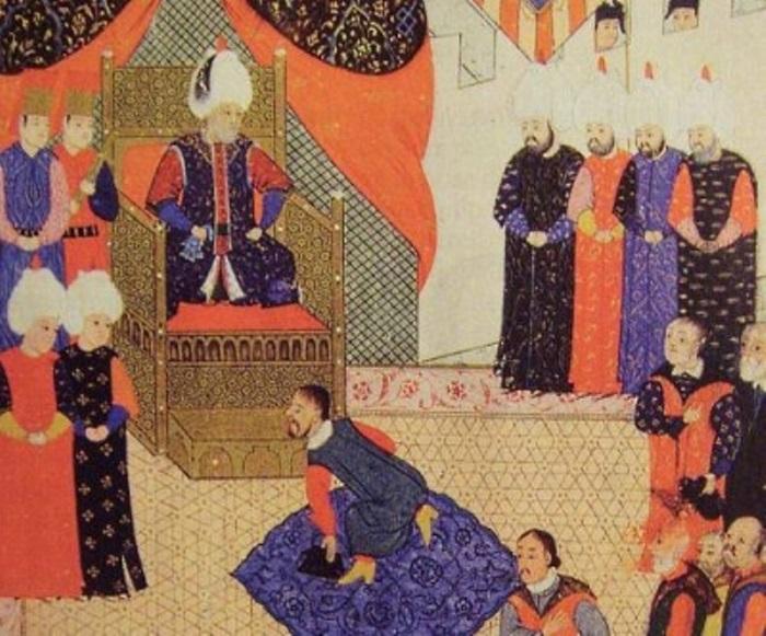 Султан Сулейман принимает правителя Трансильвании Яноша II Запольяи. Старинная миниатюра | Фото: portalostranah.ru