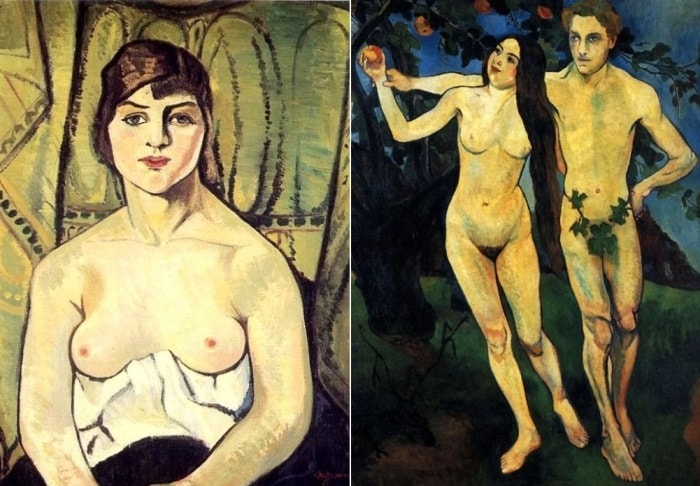 С. Валадон. Слева – автопортрет, 1917. Справа – Адам и Ева, 1901 | Фото: liveinternet.ru