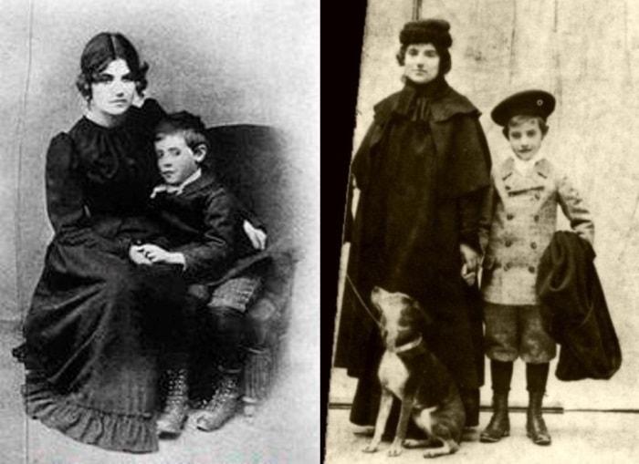 С. Валадон с сыном, 1890 и 1894 гг. | Фото: liveinternet.ru