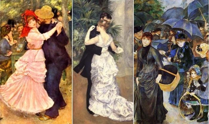 Для этих картин Ренуару позировала С. Валадон: *Танец в Буживале*, 1883, *Танец в городе*, 1883, *Зонтики*, 1886 | Фото: artchive.ru